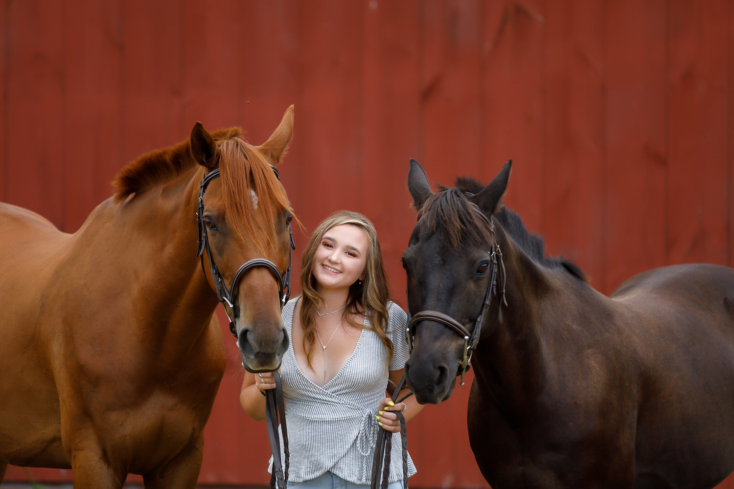 Senior girl photo with her two horses